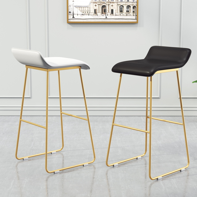 Padded High Chair Rocking Covers New Nordic Bar Stools Cafe Lounge Stool Simple Designer Wrought Iron Gold