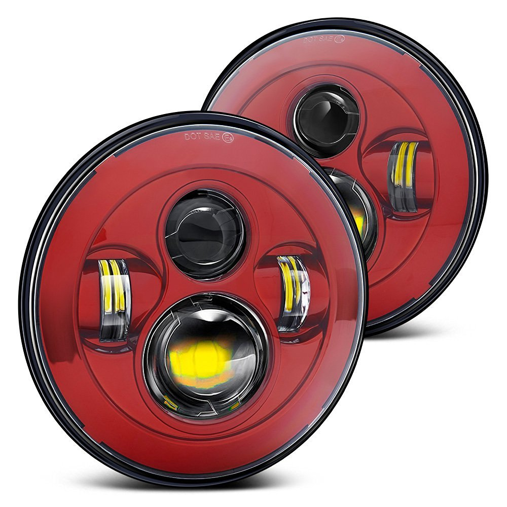 DOT , SAE , E9  Pair 7 Round Hi-Power 40W LED Red Projector Headlight For Jeep Land rove-r Defender Wrangler Harley хай хэт и контроллер для электронной ударной установки roland fd 9 hi hat controller pedal