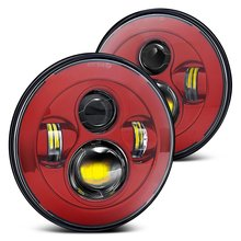 """ DOT , SAE , E9 "" Pair 7″ Round Hi-Power 40W LED Red Projector Headlight For Jeep Land rove-r Defender Wrangler Harley"