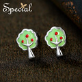 Special New Fashion 925 Sterling Silver Stud Earrings Enamel Cartoon Tree Ear Piercing Jewelry Gifts for Women S1644E