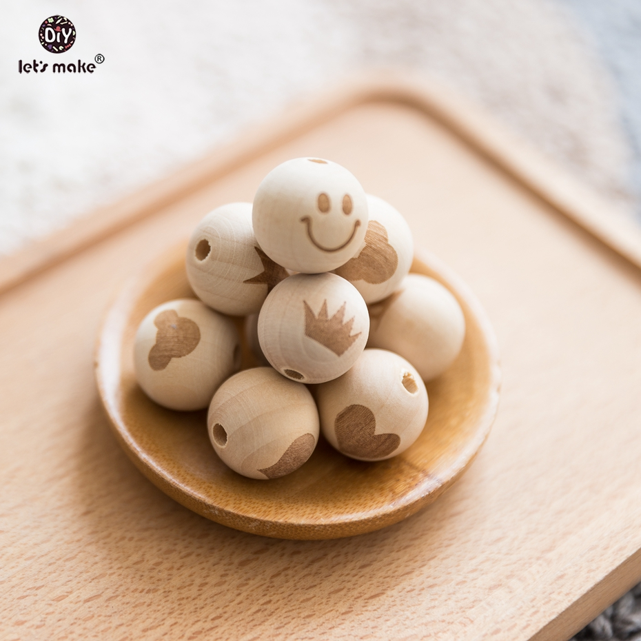 20pcs/lot 20mm DIY Making Natural Wooden Beads Engraved Customized DIY Teeching Toy Wooden Teether Teething Balls Baby Teether