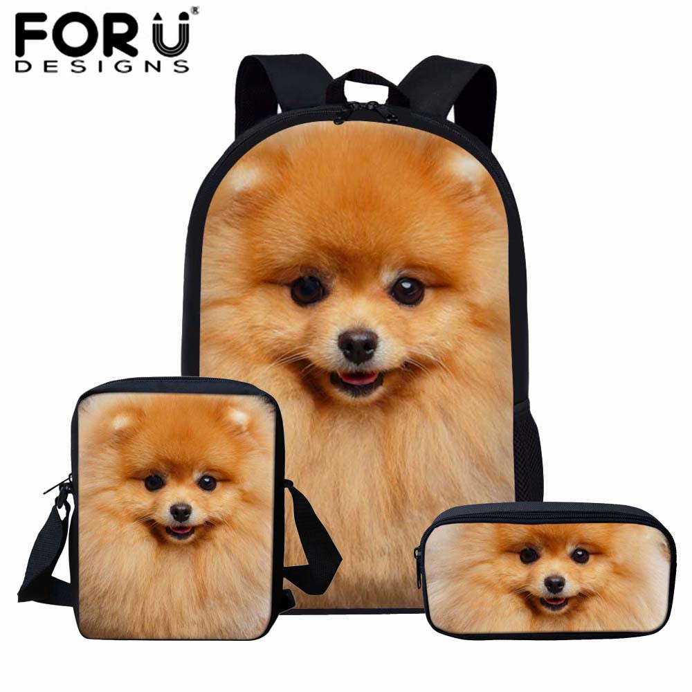 FORUDESIGNS Girls School Bags Cute Animal Dog Pomeranians Prints Kids Backpack For Boys Girls School Book Bags Schoolbag Sets