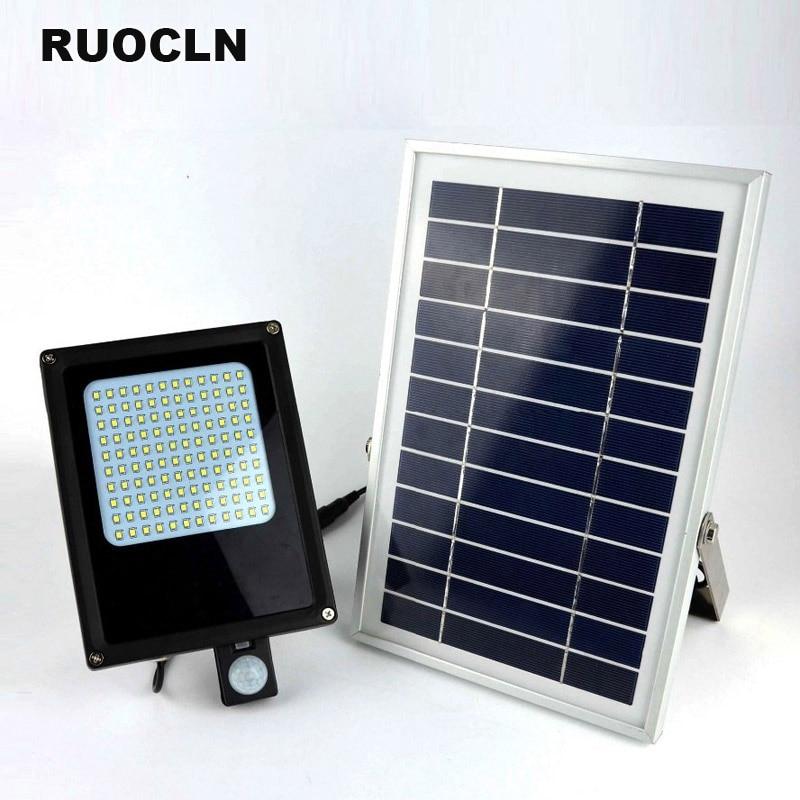 120 LED Solar Power Panel Floodlight IP65 3528 SMD Flood Light Motion Sensor Garden Yard Street Path Landscape Led Outdoor Light