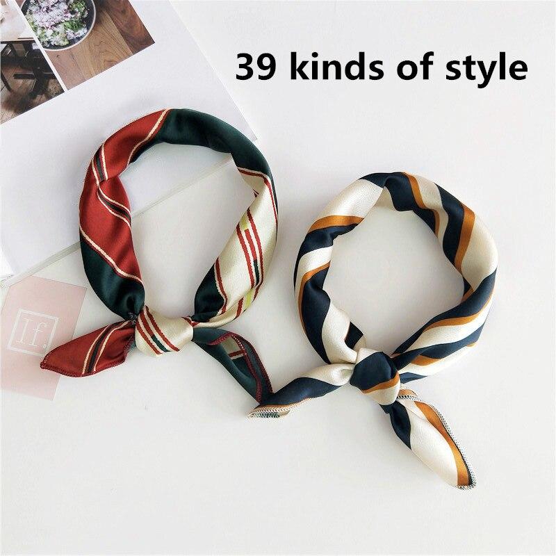 2019 Hot Sales Silk Hair Head Neck Feel Satin Scarf Square Letter Scarf Elegant Women's Collar Handkerchief Bandana Ladis Hijab