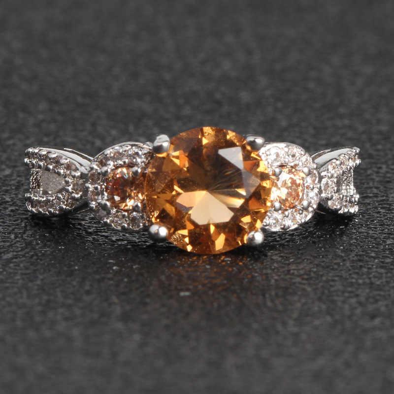 Anillos De diamantes De topacio amarillo De oro De 14K Joyería De diamantes De oro blanco De 14k Anillos De Bizuteria De boda para mujeres anillo De jade De peridoto