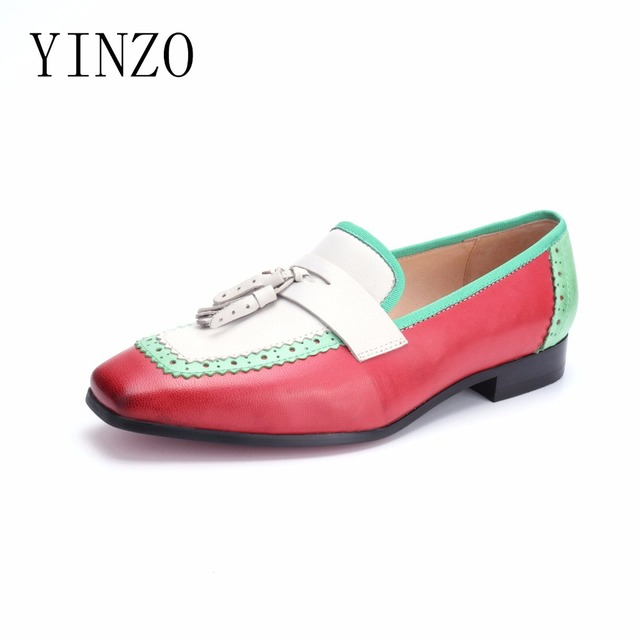 615bef2e291 YINZO Brand shoes 2018 New Women genuine sheepskin leather Slip-On loafers  shoes vintage tassel flat oxford shoes for women