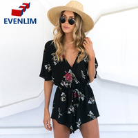 EVENLIM Boho Red Floral Print Ruffles Playsuits Women Summer Black V Neck Jumpsuits Rompers Sexy Beach