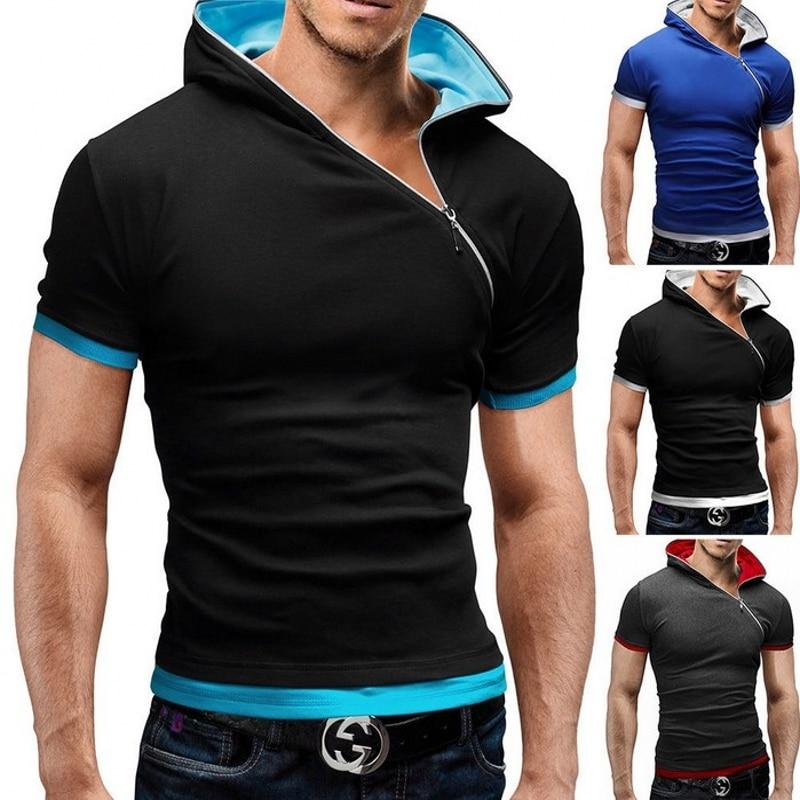 T-shirt herr Märke 2018 Modedesigner Hooded Collar Oblique Zipper - Herrkläder