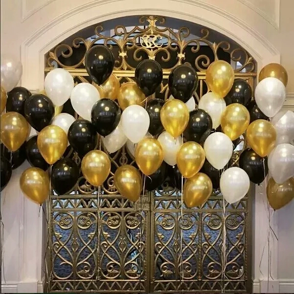 30pcs Lot 10 Inch Tiffany Gold Black Latex Helium Balloons