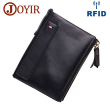 JOYIR Genuine Crazy Horse Cowhide Leather Men Wallet RFID Short Coin Purse Small Vintage Wallets Brand High Quality Designer