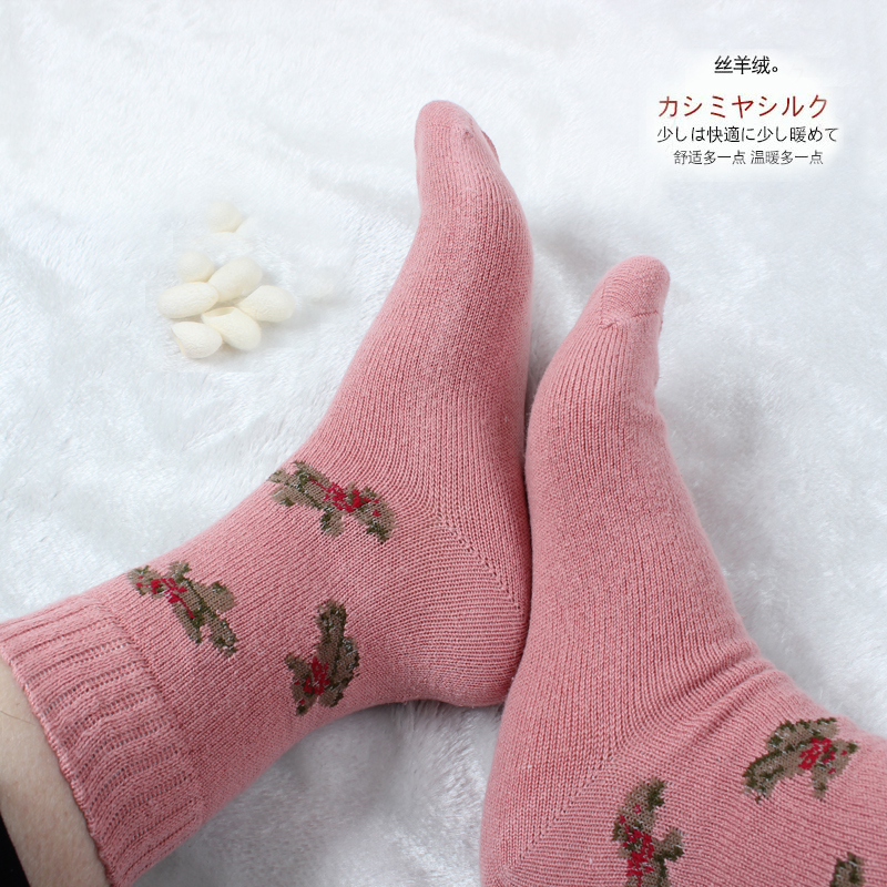 Silk ashmere autumn and winter thickening women socks sweat absorbing antibiotic anti-odor thermal anti-icer