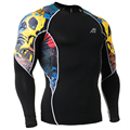 2016 Men's Boy's Compression Long Sleeves Shirts Base Layer Sides Prints Thermal Under Top T-Shirt Male New Gear Wear