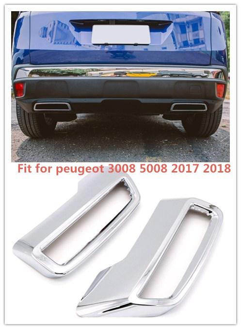 Exterior ABS Chromed Rear Exhaust muffler tail Pipe Outlet Decoration Trim 2PCS For Peugeot 3008 5008 2017-2018 for peugeot 3008 5008 2017 2pcs set rear exhaust muffler pipe cover trim decoration