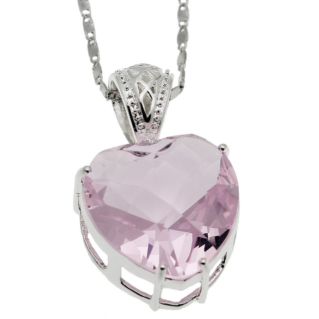 Sweet love gift faceted heart pink kunzite shiny lady jewellry 925 sweet love gift faceted heart pink kunzite shiny lady jewellry 925 sterling silver women necklace pendant mozeypictures Gallery