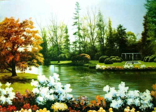 Free shipping wall gobelin tapestries,The Corner of Park for festival as Nice Gifts,DEC picture for small room and porch