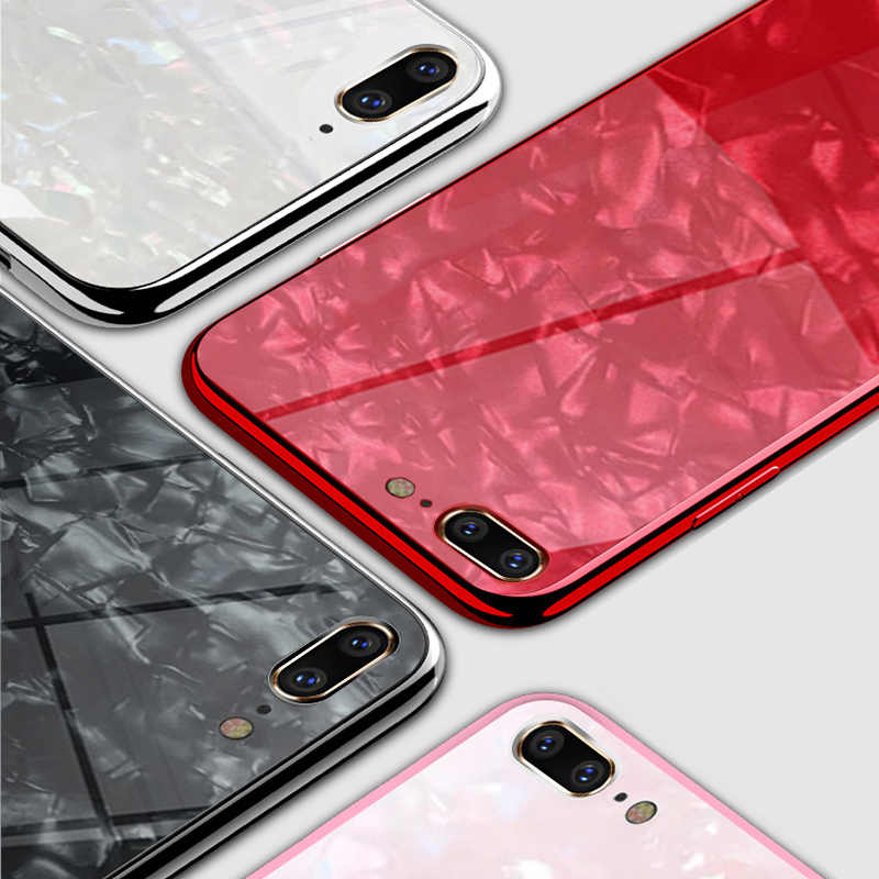 31a5e570d98 ... Luxury Tempered Glass case For iPhone XR iphone XS MAX case Cute Glossy  Marble SeaShell Texture ...