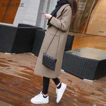 Wool Women 2019 Thicker Loose Elegant Solid Long Coat Korean Style Womens Chic Pockets Simple Trendy Woolen Coats Student Daily