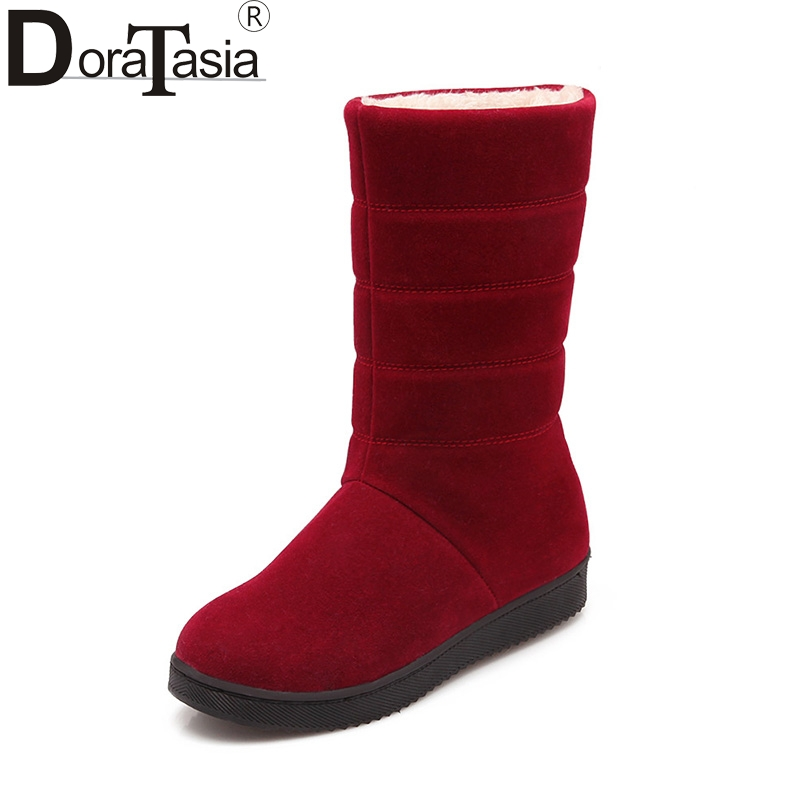 DoraTasia Women Winter Plush Fur Shoes Flat Heel Slip On Mid-calf Boots Round Toe Platform Red Black Purple Snow Boots casual female 2016 new winter brown flat heel boots non slip waterproof round toe knight shoes mid calf wear resistance boots