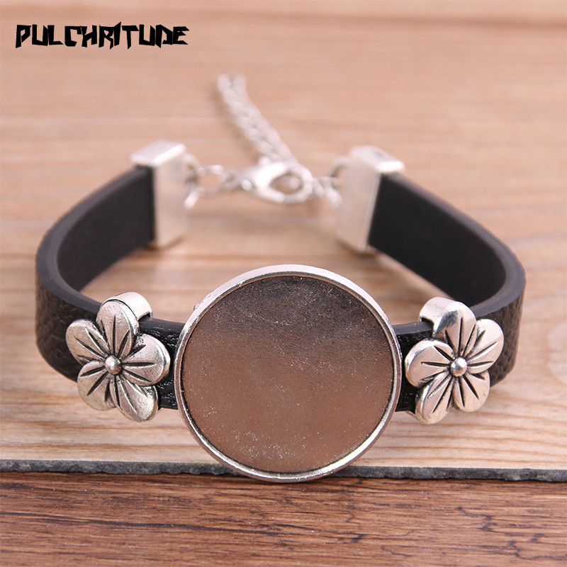 1pcs Flower PU Bracelets Base Setting Cuff Blank Trays Brazel Fit 25mm Glass Cameo Dome Cabochon DIY Jewelry Findings P6881
