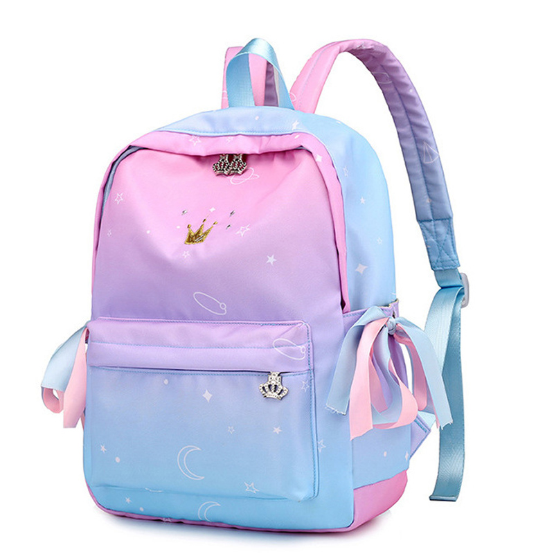 Pink Gradient Color Printing Backpack Women Ribbons Bookbag Cute Crown Embroidery School Bag for ...