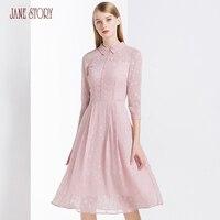 Джейн история 2018 Лето Женское платье одноцветное Цвет звезды жаккардовые три четверти рукав линии элегантный Офисные женские туфли платье