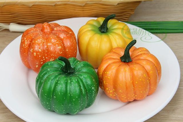 Kitchen Toys Hot Selling Cute Artificial Fruit Home Cabinet Model  Photography Props Decoration Small Pumpkin Fake