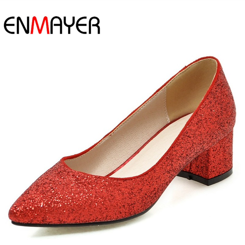 ФОТО ENMAYER New High Heels Women Pumps Square Heel Spring&Autumn Fashion Squined-Cloth Red Pumps for Women Bling Decorations Shoes