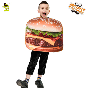 Halloween Hamburger Costume Lovely Kid's Delicious Hamburger Jumpsuit Cosplay Outfits Costumes(China)