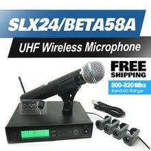 Envío Libre!! profesional de Micrófono Inalámbrico UHF SLX24/BETA58 58A Sistema de Karaoke micrófono Inalámbrico de Mano Inalámbrico SLX Alta Calidad