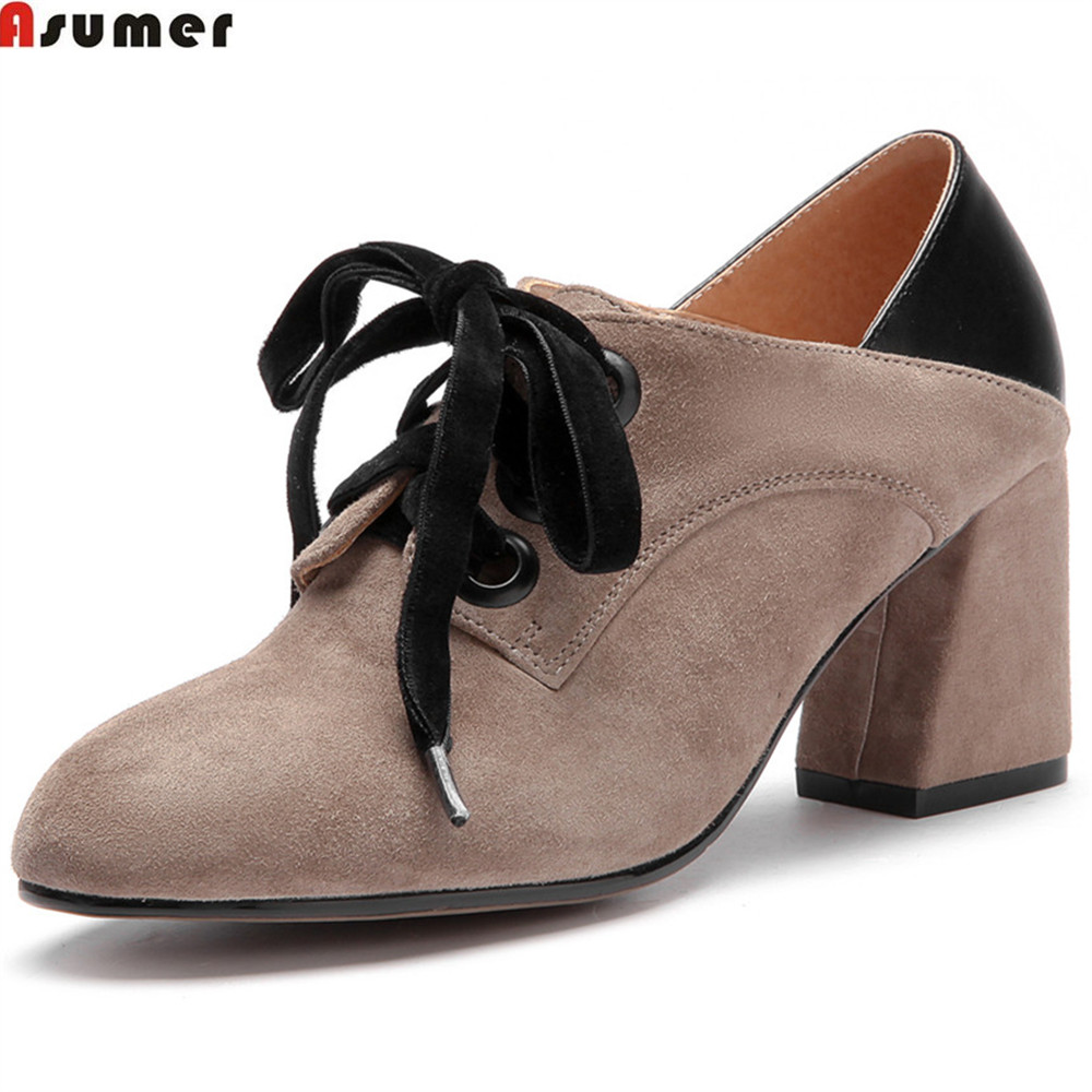 ASUMER black apricot fashion spring new 2018 ladies pumps round toe lace up square heel women suede leather high heels shoes wetkiss high heels women pumps genuine leather square heel round toe footwear new rivet lace up platform spring ladies shoes
