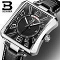 Relógios homens de luxo da marca suíça BINGER B3038-2 Tonneau Quartz leather strap relógios de Pulso à prova d' água