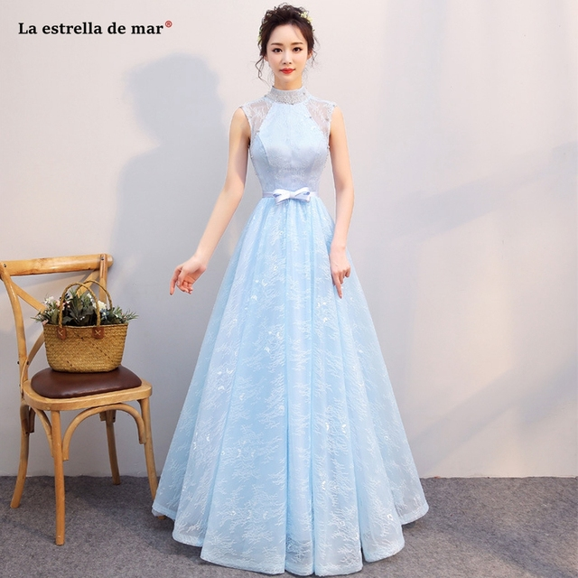 Robe Demoie D Honneur2018 High Neck Lace A L Ine Light Blue Bridesmaid Dresses Long
