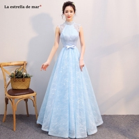 Robe demoiselle d'honneur2018 high neck lace a L ine sky blue bridesmaid dresses long elegant dress women for wedding party