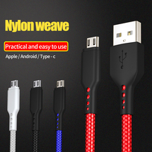 1m Micro USB Cable Fast Charging Type-c nylon braided  Data For iPhone 6 S 7 8 Plus X Samsung Xiaomi LG Phone Universal