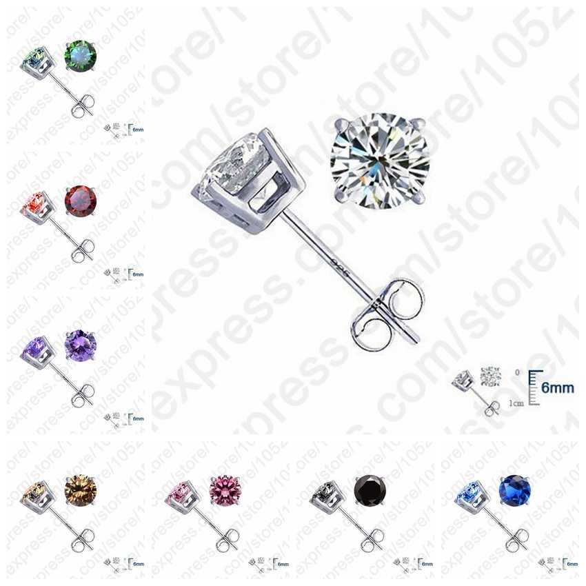 Big Sale 925 Sterling Silver Cubic Zirconia Stud Earrings Luxury CZ Rhinestone Crystal Stone Wedding Jewelry Accessories