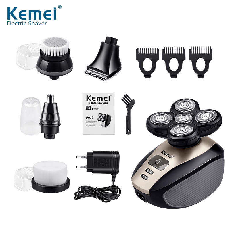 Kemei 5 in 1 Electric Shaver 5 Blade Heads Electric Shaving Rechargeable 4D Razors Multifunction Men Face Care Washable KM-1000