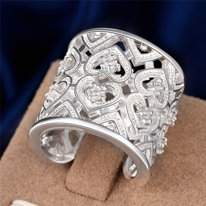 deea72383ad7 Estilo retro plata color anillo hueco grande con ZIRCON apertura diseño  clásico elegante estilo Reina señora joyería caliente