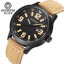 Ochstin Mejores Marcas de Lujo Relojes Hombres de Cuarzo de Moda Reloj de Pulsera de Cuero Genuino Impermeable de Los Hombres Reloj de Pulsera Relogio masculino