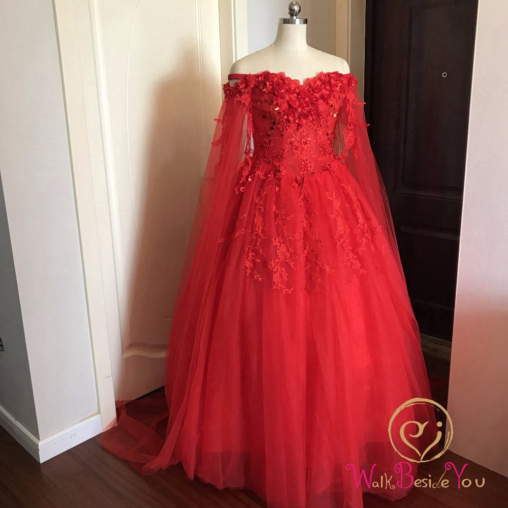 Image 3 - Walk Beside You Red Evening Dresses Off Shoulder Flower Lace Applique Sequined Prom Gowns Chapel Train Vestidos Largos De Noche-in Evening Dresses from Weddings & Events