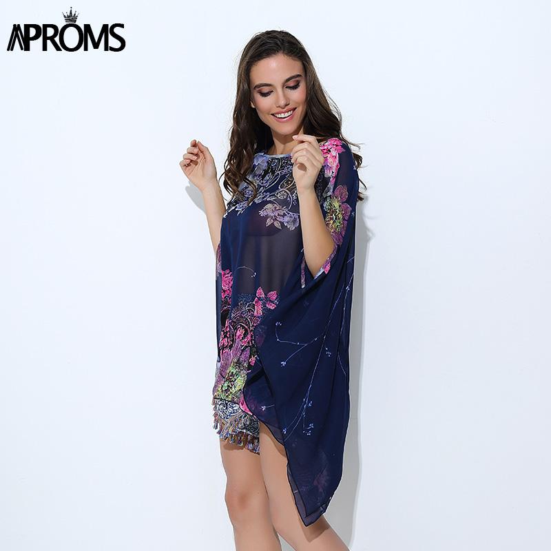 HTB18jihPVXXXXcQXXXXq6xXFXXXp - Boho Batwing Sleeve Chiffon Blouse Women Casual Floral Kimono Shirts