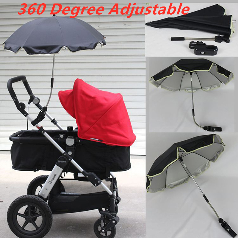 Baby Stroller Umbrella Nylon Anti-UV Sun Canopy Cover 360 Adjustable Pram Umbrellas Stretch Stand Holder Stroller Accessories(China)