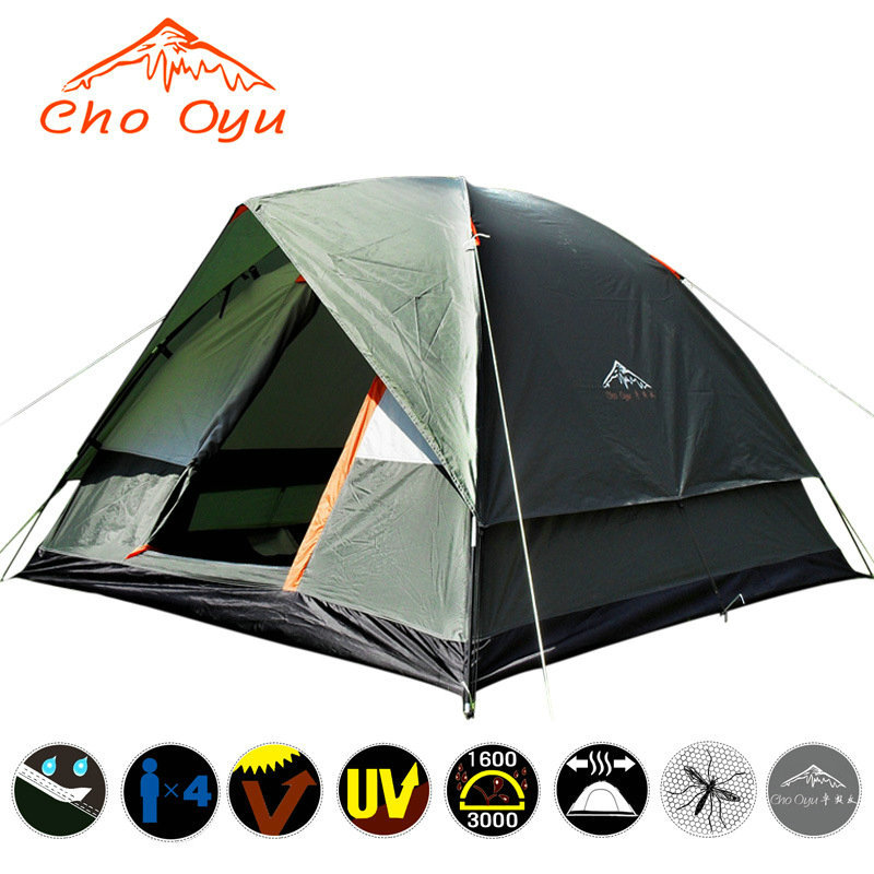 4 Person Double Layer Camping Tent 200x200x130cm Outdoor Rainproof Travel Tent for Hiking Fishing Camping Russian