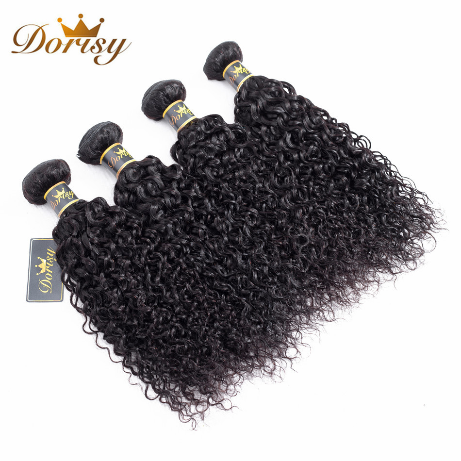 Dorisy Hair Pre-Colored 8-26 Inch Indian Kinky Curly Hair 4 Bundles Natural Color Non Remy 100% Human Hair Weave Bundles
