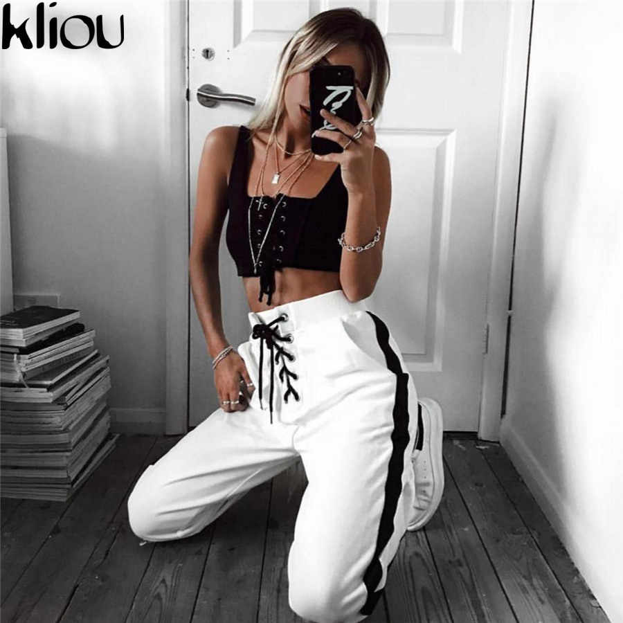 Kliou 2018 Winter Sweatpants Women Casual Harem Pants Loose Trousers For Women Black Striped Side Sweat lace up Pants Female