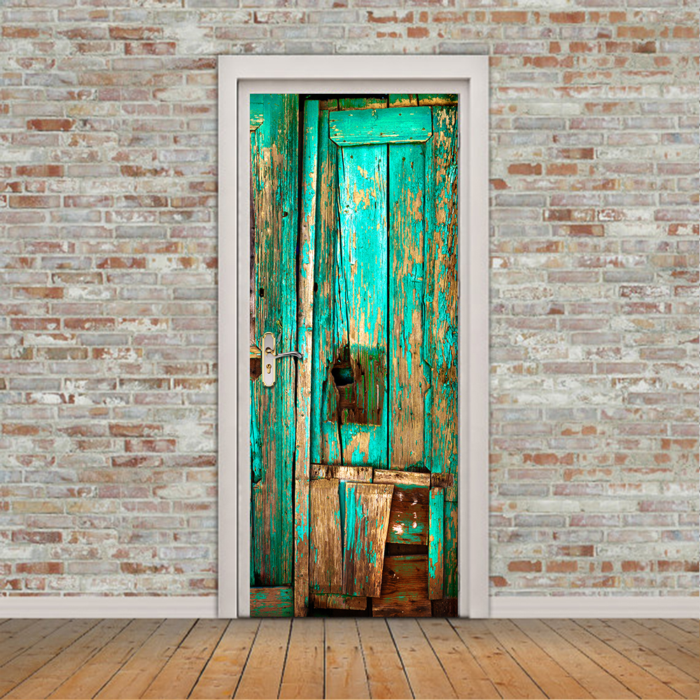 3D Decal Imitation Old Wooden Door WallPaper PVC Waterproof Door Stickers Wall Sticker Bedroom Home Decor Poster fashion letters and zebra pattern removeable wall stickers for bedroom decor