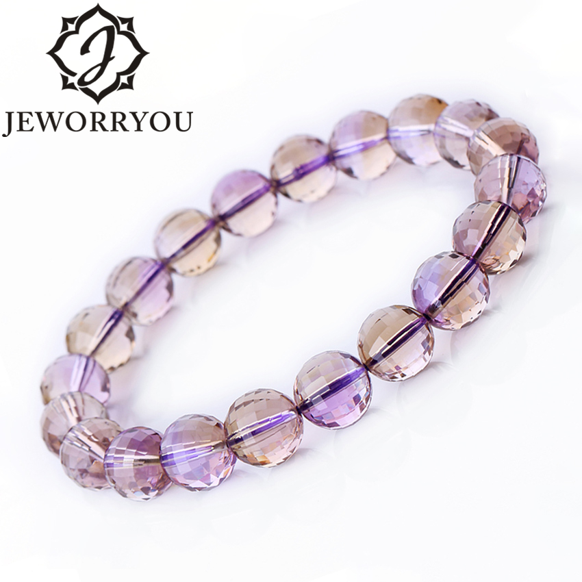 Ametrine Natural Stone Bracelet Female 8-10mm Faceted Women Bracelets For Girls Round Bead Bracelet Elegant Temperament