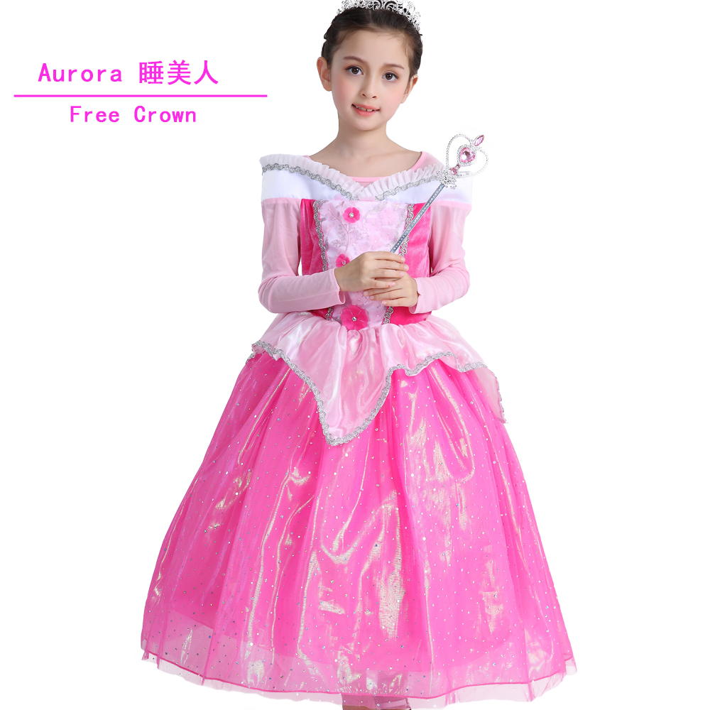 2017 Girl Spring Pink flower dress Kids Aurora Princess Sleep Beauty Kids Party Costume Clothing Evening Formal dress free Crown sleeping beauty princess costume spring autumn girl dress 2017 pink princess aurora dresses for girls party costume free ship