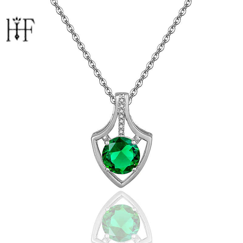 Silver Hearts Of Brand Clear Geometric Shape CZ Pendant Necklaces for Women Party Jewelry Green Colors Zircon Girls Gift