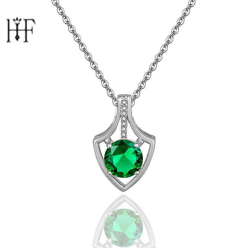 Perak Hati Merek Jelas Bentuk Geometris CZ Liontin Kalung untuk Wanita Pesta Perhiasan Warna Hijau Zircon Girls Hadiah
