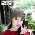 Women Winter Pom Pom Hat Cute oxhorn Design Casual Style Soft Skullies & Beanie knitted beanies cap bonnet homme